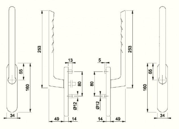 Schiță dimensiuni Manere pentru usa glisanta cu ridicare din aluminiu Brest HS-0739