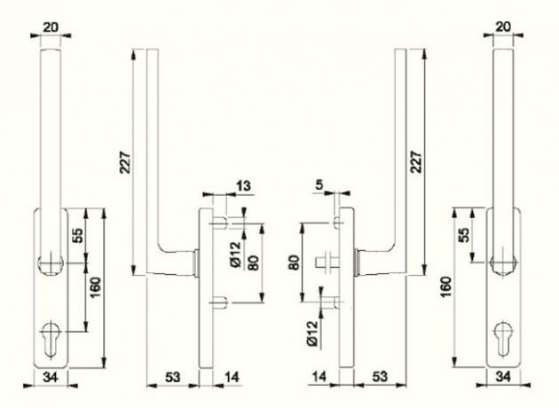 Schiță dimensiuni Manere pentru usa glisanta cu ridicare din alama Dallas HS-M0643