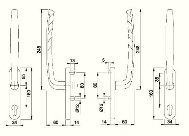 Schiță dimensiuni Manere pentru usa glisanta cu ridicare din aluminiu New York HS-0810