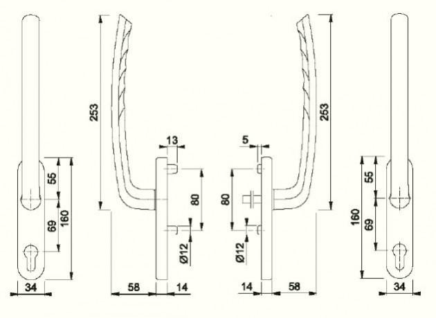 Schiță dimensiuni Manere pentru usa glisanta cu ridicare din aluminiu Tokyo HS-571