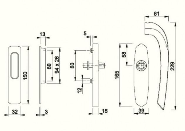 Schiță dimensiuni Manere pentru usa glisanta cu ridicare din alama Monte Carlo HS-M550