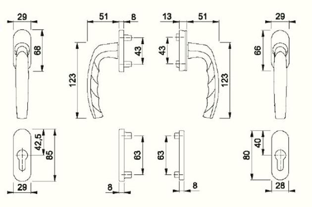 Schiță dimensiuni Set pentru usa de balcon/manere de fereastra Atlanta 0530