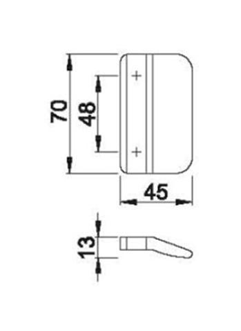 Schiță dimensiuni Maner scoica din plastic K435