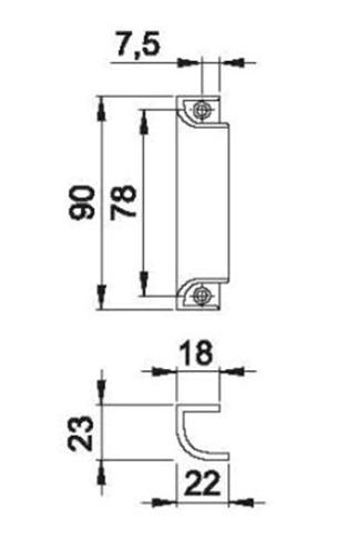 Schiță dimensiuni Maner scoica din aluminiu 430
