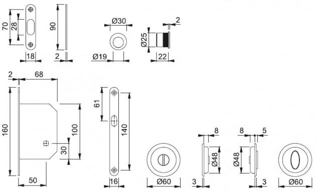 Schiță dimensiuni Set pentru usa glisanta din alama 492