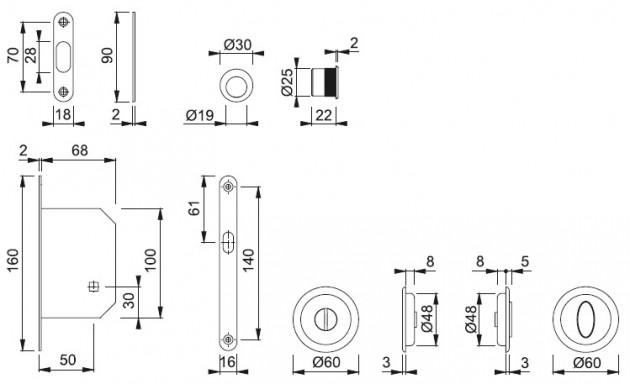 Schiță dimensiuni Set pentru usa glisanta din alama M492