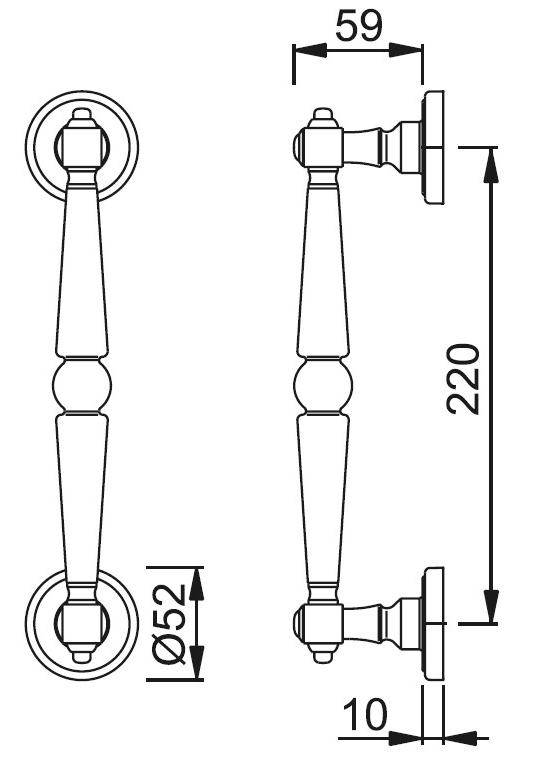 Schiță dimensiuni Maner de tragere Singapore M476/15