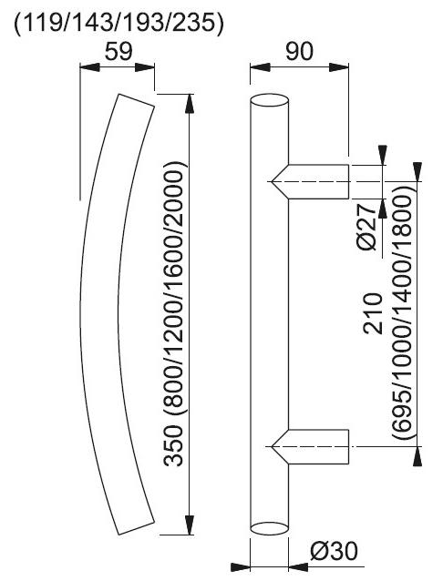 Schiță dimensiuni Maner de tragere E5511