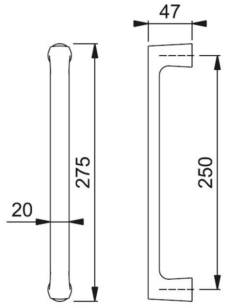 Schiță dimensiuni Maner de tragere Dallas M543