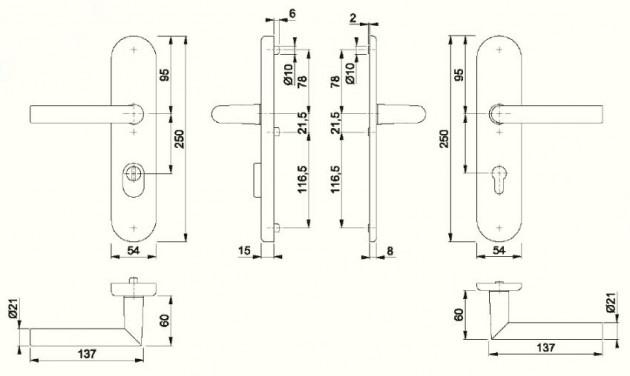 Schiță dimensiuni Manere antiefractie Amsterdam (E)1400