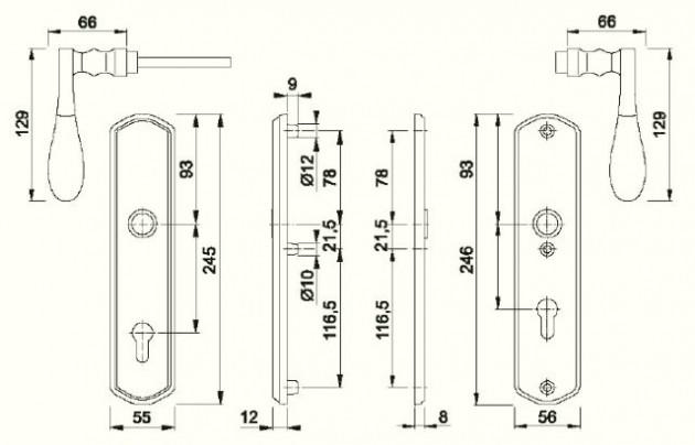 Schiță dimensiuni Manere antiefractie München M112SH