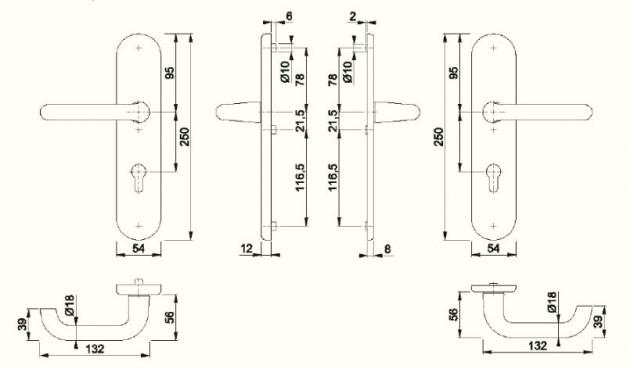 Schiță dimensiuni Manere antiefractie Paris 138L