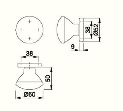 Schiță dimensiuni Buton cu rozeta M84