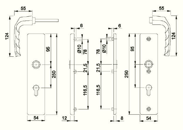 Schiță dimensiuni Manere antiefractie Birmingham 1117