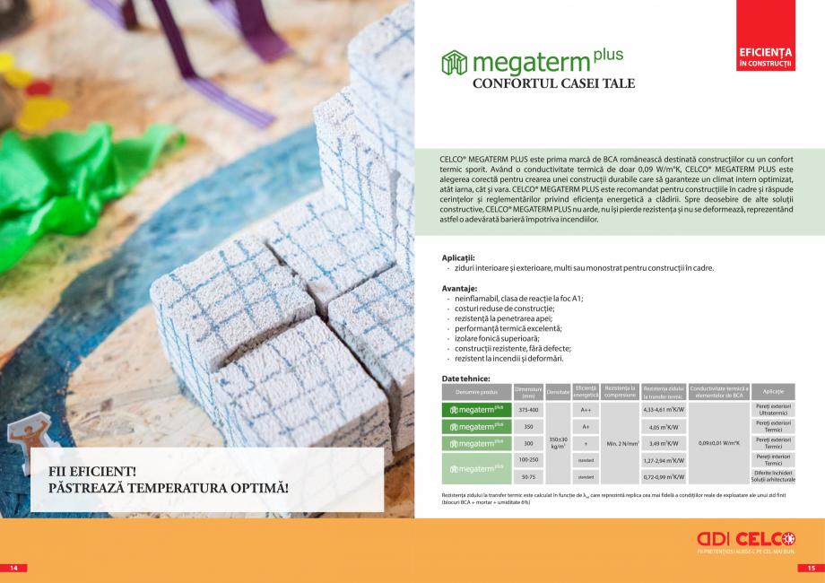Pagina 1 - BCA - beton celular autoclavizat CELCO MEGATERM PLUS Fisa tehnica Romana 1  2