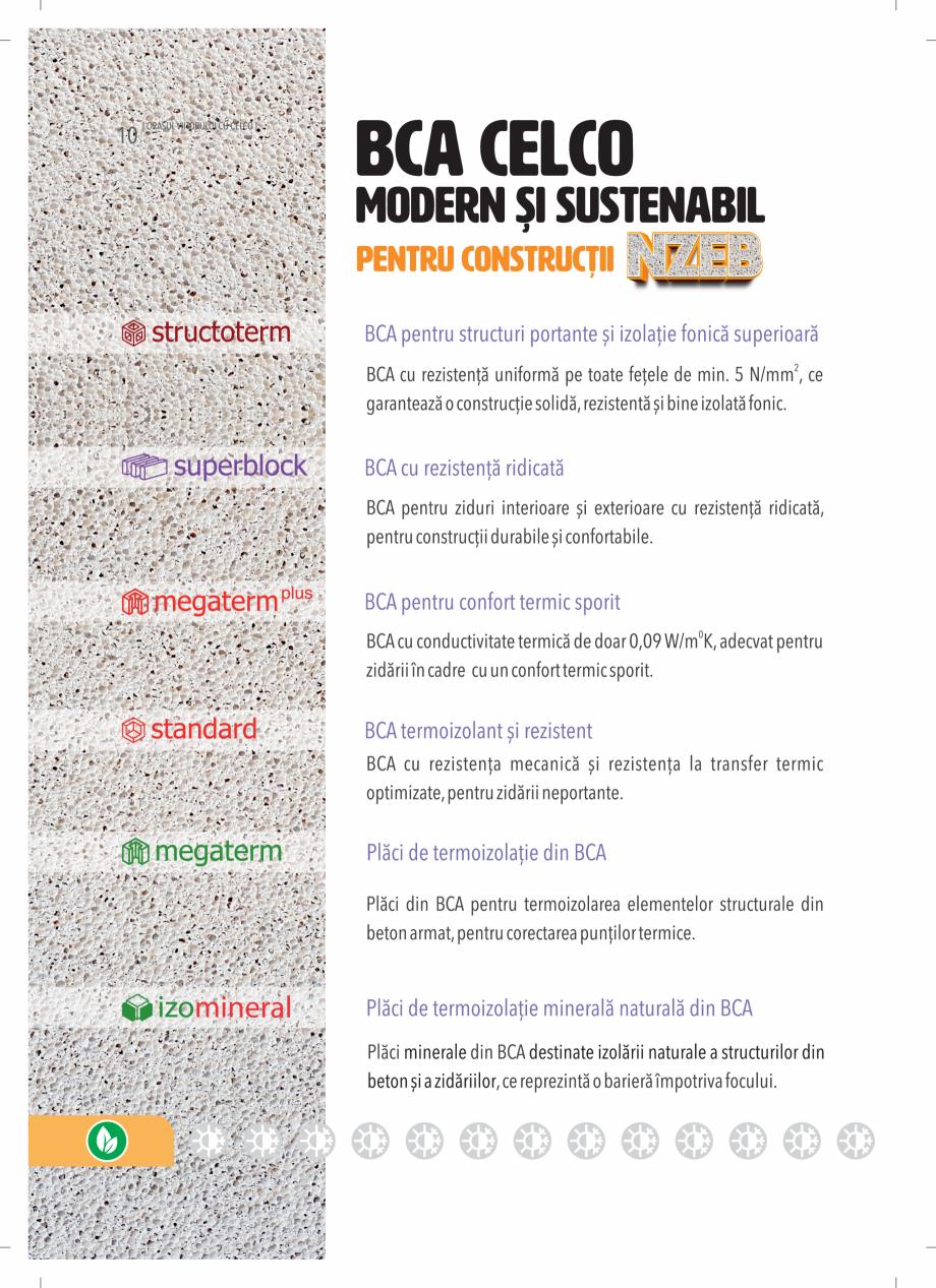 Pagina 10 - BCA - beton celular autoclavizat CELCO MEGATERM, MEGATERM PLUS, STANDARD, STRUCTOTERM,...