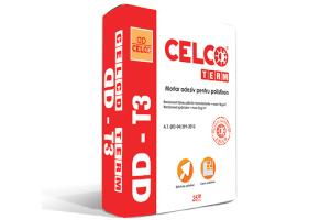Mortar adeziv pentru lipirea placilor de polistiren Mortar adeziv CELCO, este utilizat pentru lipirea placilor de polistiren, pentru realizarea stratului de protectie cu insertie de plasa din fibra de sticla.