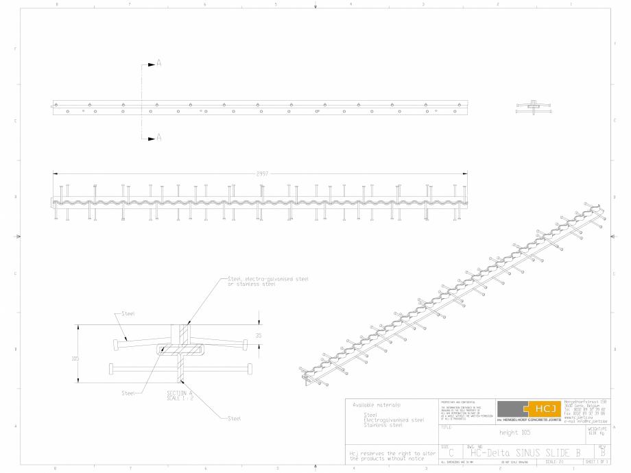 Pagina 1 - CAD-DWG Profile pentru rosturi 105x5 HCJ Detaliu de produs HC-Delta Sinus Slide