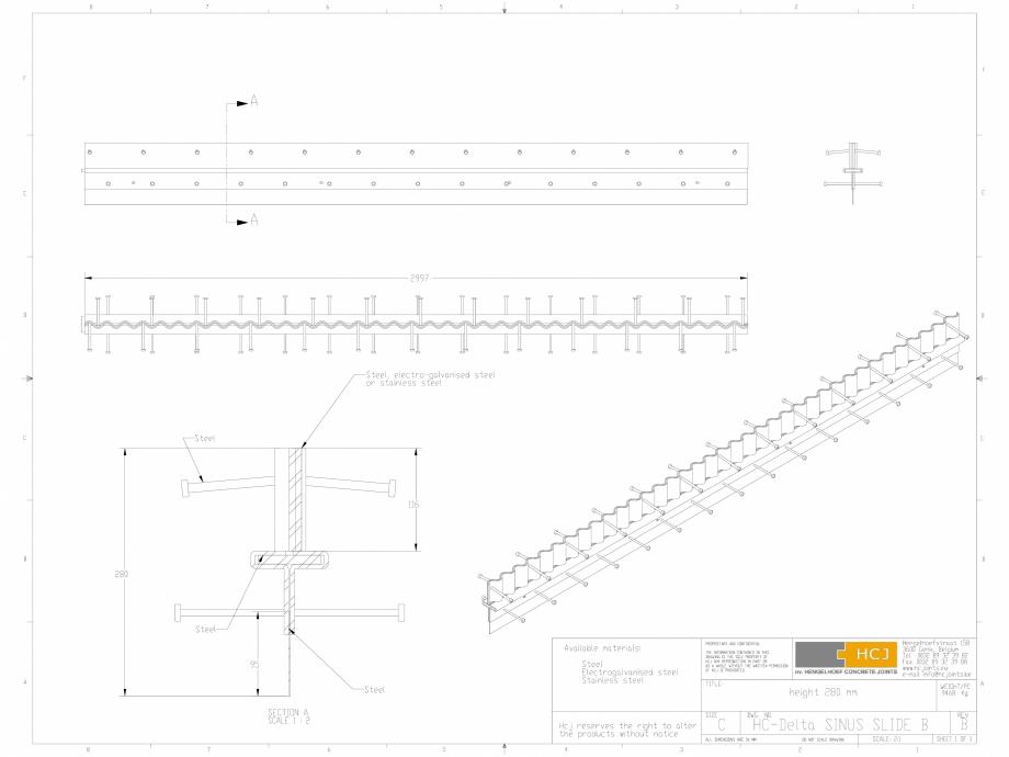 Pagina 1 - CAD-DWG Profile pentru rosturi 280x5 HCJ Detaliu de produs HC-Delta Sinus Slide