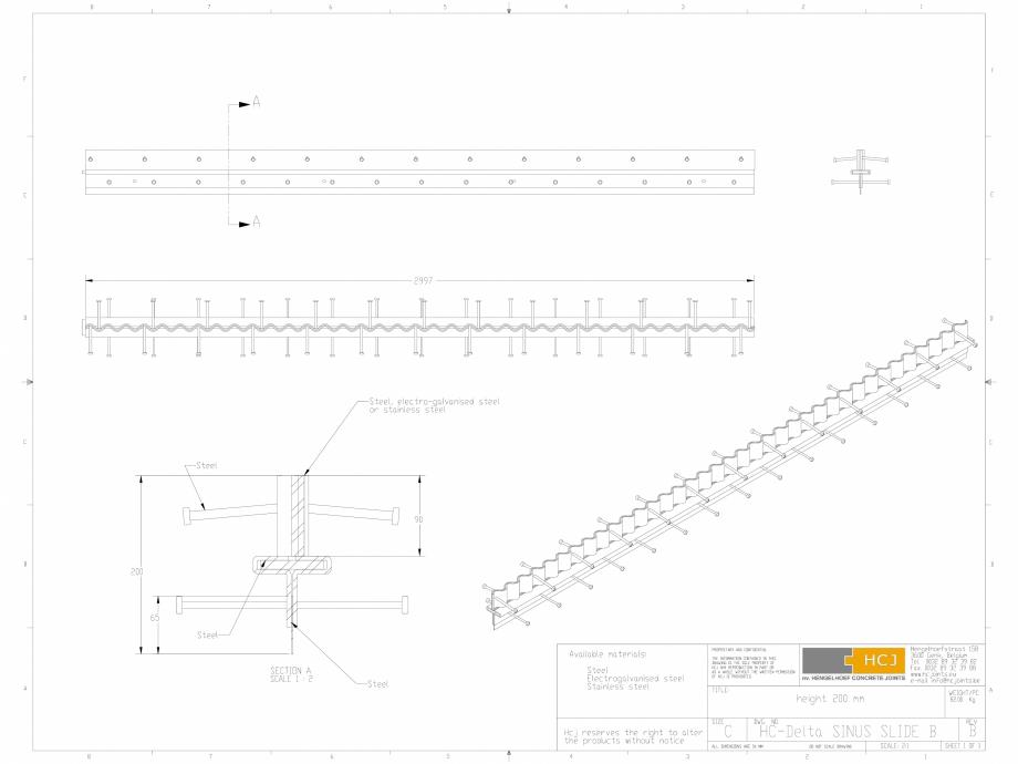 Pagina 1 - CAD-DWG Profile pentru rosturi 200x5 HCJ Detaliu de produs HC-Delta Sinus Slide