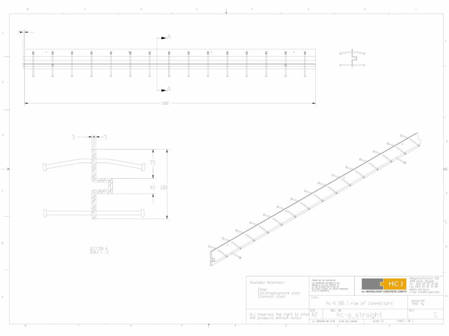 Pagina 1 - CAD-DWG Profile pentru rosturi 180x5 HCJ Detaliu de produs HC-Omega
