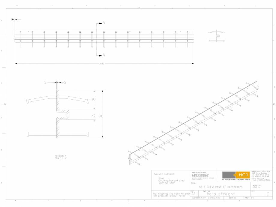 Pagina 1 - CAD-DWG Profile pentru rosturi 200x5  HCJ Detaliu de produs HC-Omega