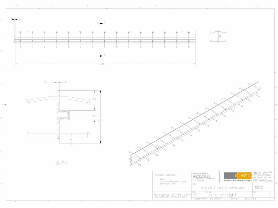 Pagina 1 - CAD-DWG Profile pentru rosturi 220x5  HCJ Detaliu de produs HC-Omega