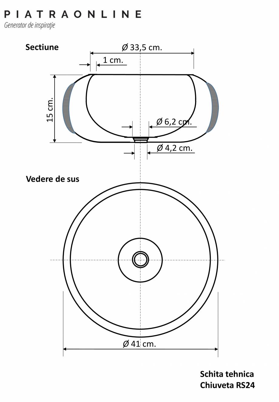 Pagina 1 - Chiuveta Matia marmura Cappuccino RS-24 PIATRAONLINE LPN-7323 Fisa tehnica Romana Ø 33,5...