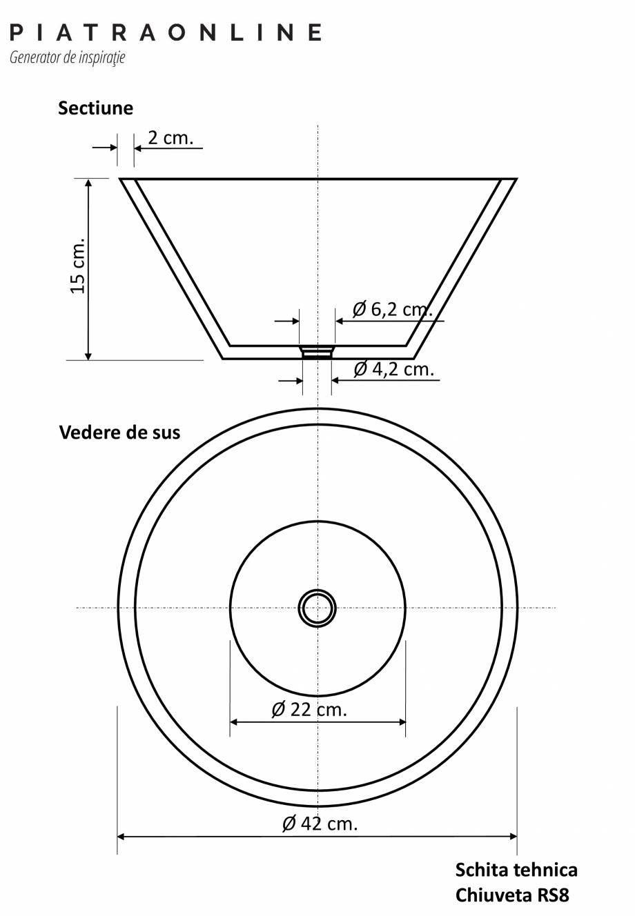 Pagina 1 - Chiuveta Matia marmura Light Beige RS-8 PIATRAONLINE LPN-7383 Fisa tehnica Romana...