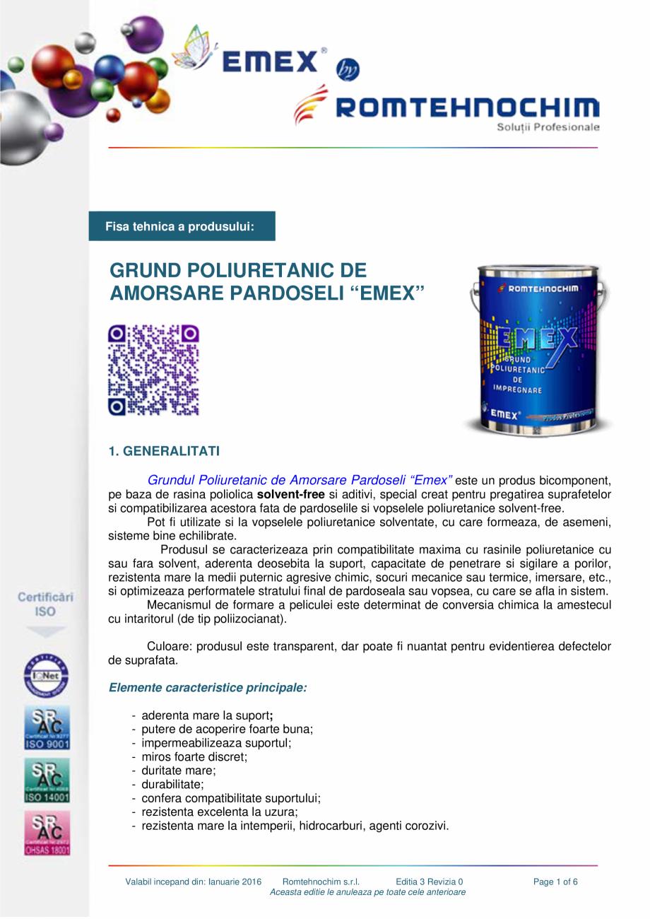 Pagina 1 - Grund poliuretanic amorsare pardoseli EMEX GRUND DE AMORSARE Fisa tehnica Romana Fisa...