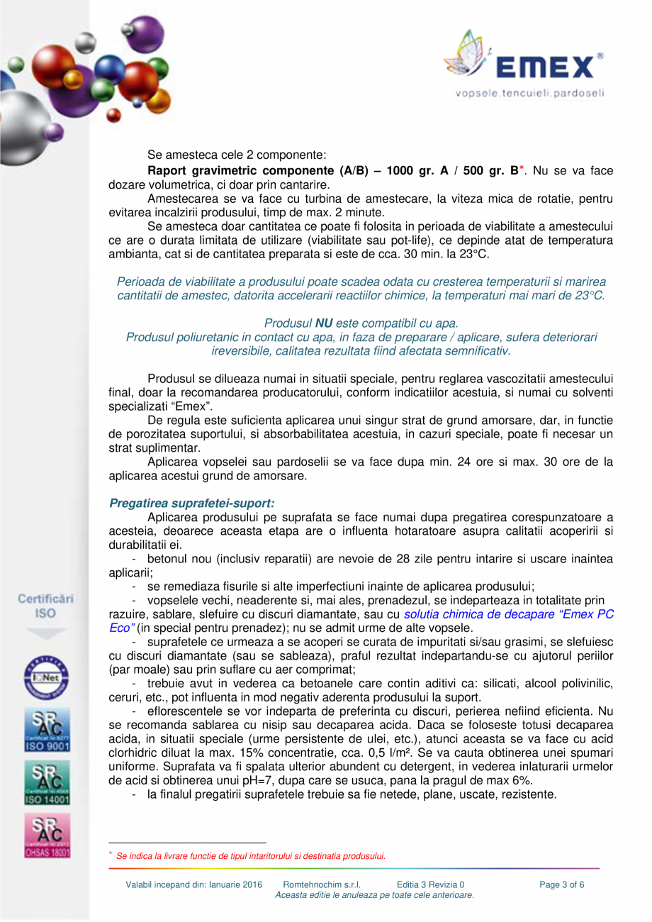 Pagina 3 - Grund poliuretanic amorsare pardoseli EMEX GRUND DE AMORSARE Fisa tehnica Romana u expuse...