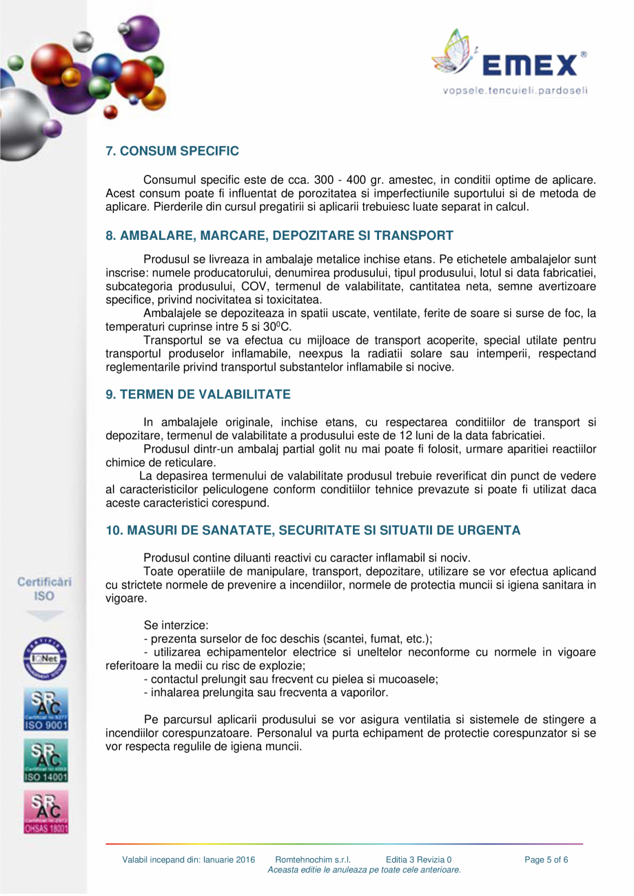 Pagina 5 - Grund poliuretanic amorsare pardoseli EMEX GRUND DE AMORSARE Fisa tehnica Romana ce are o...