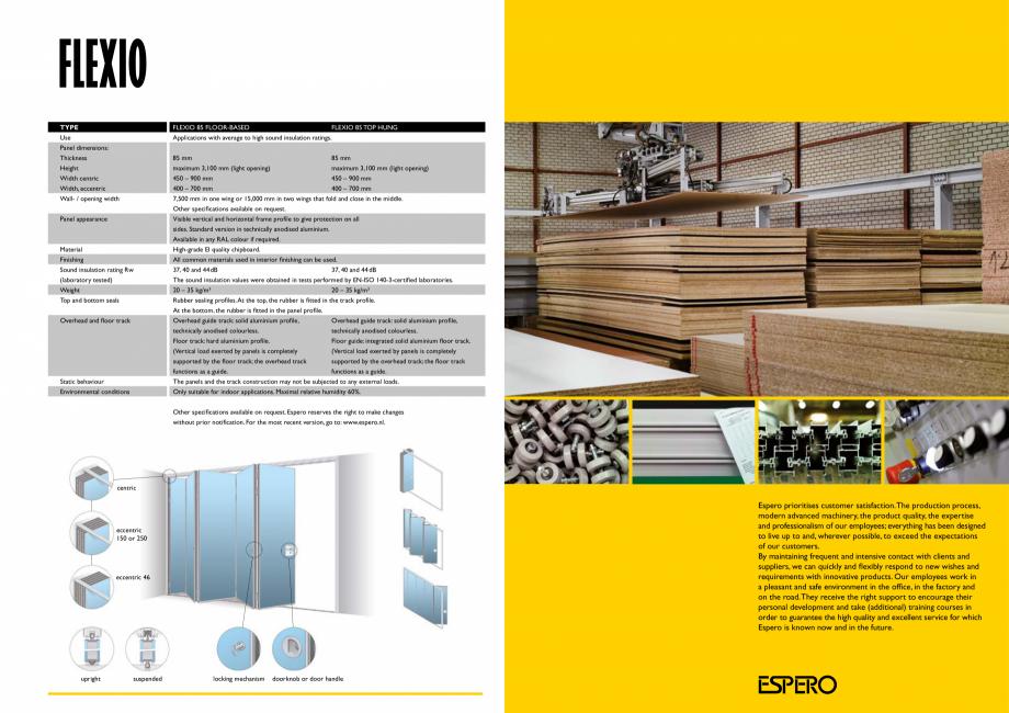 Pagina 6 - Pereti mobili, demontabili  ESPERO Flexio Catalog, brosura Engleza m 85 mm maximum 3,100...