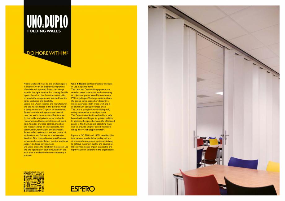 Pagina 2 - Pereti mobili, demontabili    ESPERO Uno & Duplo Catalog, brosura Engleza evelopment....