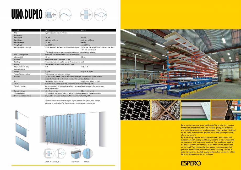 Pagina 6 - Pereti mobili, demontabili    ESPERO Uno & Duplo Catalog, brosura Engleza mm...