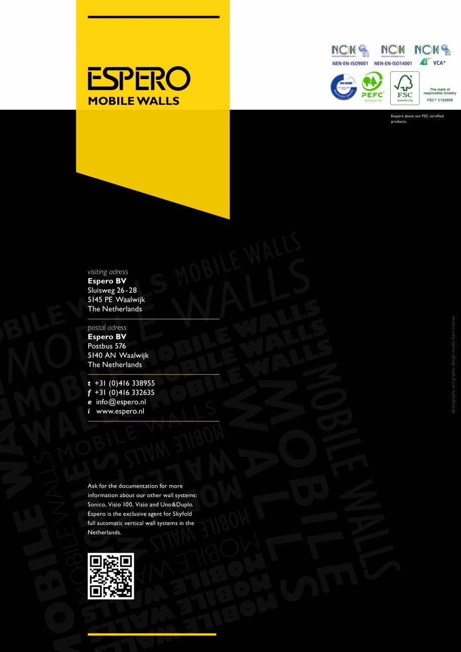 Pagina 7 - Pereti mobili, demontabili    ESPERO Uno & Duplo Catalog, brosura Engleza equirements...