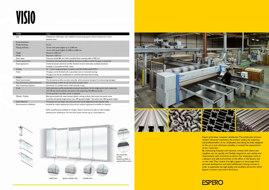 Pagina 8 - Pereti mobili, demontabili  ESPERO Visio Catalog, brosura Engleza horizontal profiles...