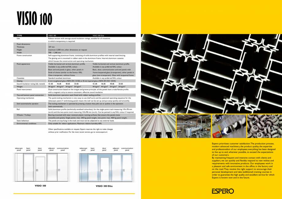 Pagina 8 - Pereti mobili, demontabili ESPERO Visio 100 Catalog, brosura Engleza d advantages: •...