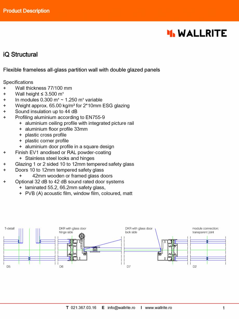 Pagina 1 - Caracteristici tehnice pereti modulari pentru birouri QBIQ iQStructural Fisa tehnica...