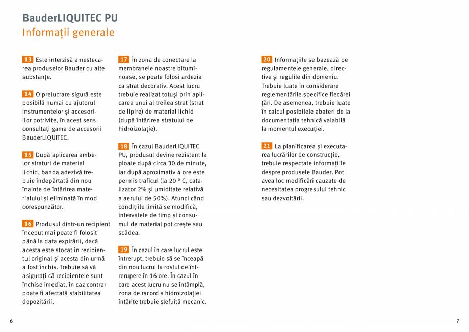 Pagina 4 - Membrana lichida din material plastic BAUDER LIQUITEC Reiniger, LIQUITEC Primer Material ...