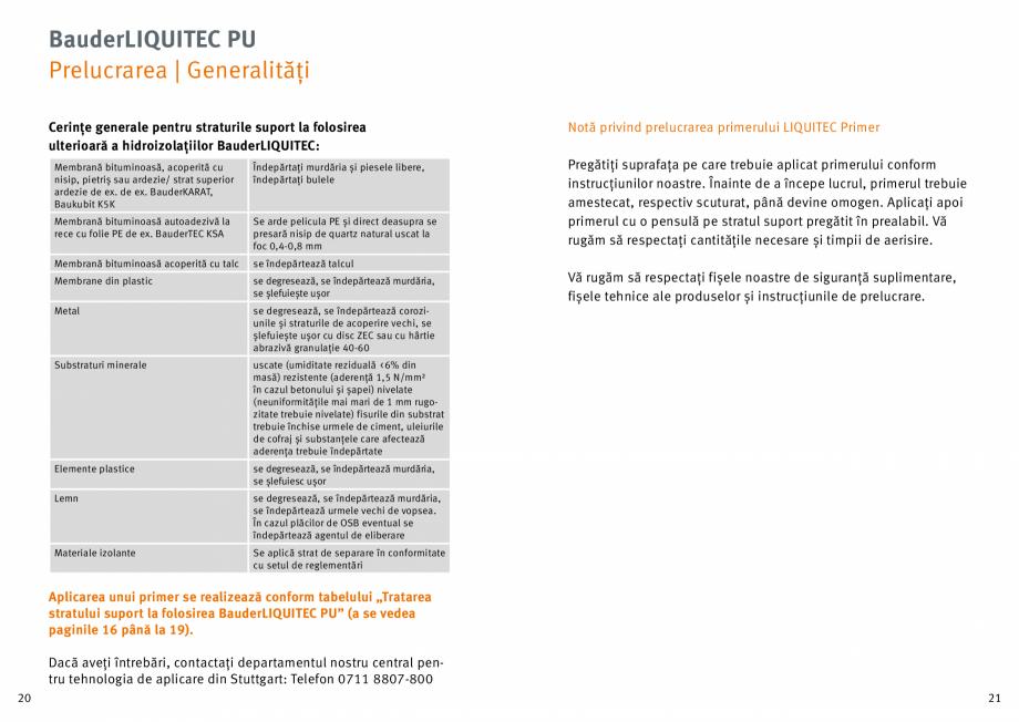 Pagina 11 - Membrana lichida din material plastic BAUDER LIQUITEC Reiniger, LIQUITEC Primer Material...