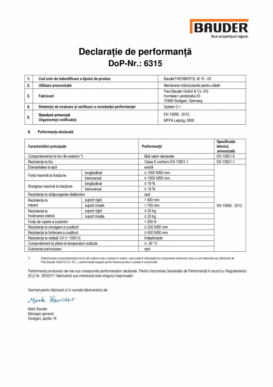 Pagina 1 - Declaratia de performanta, nr. 6315 BAUDER THERMOFOL M Certificare produs Romana...