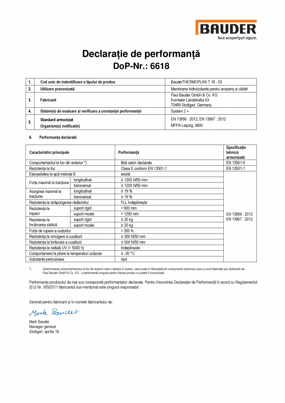 Pagina 1 - Declaratia de performanta, nr. 6618 BAUDER THERMOPLAN T18 Certificare produs Romana...
