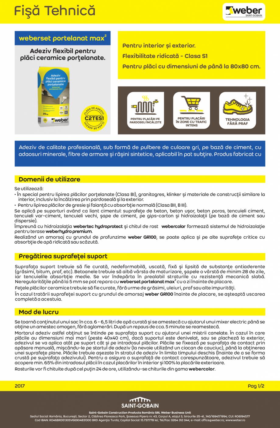 Pagina 1 - Adeziv flexibil pentru placi ceramice portelanate WEBER weberset portelanat max2 Fisa...