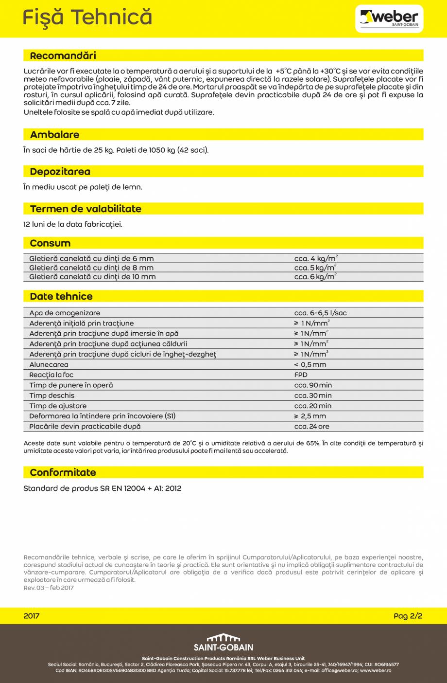 Pagina 2 - Adeziv flexibil pentru placi ceramice portelanate WEBER weberset portelanat max2 Fisa...