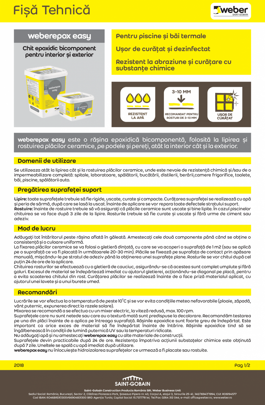 Pagina 1 - Chit epoxidic bicomponent pentru interior si exterior WEBER weberepox easy Fisa tehnica...