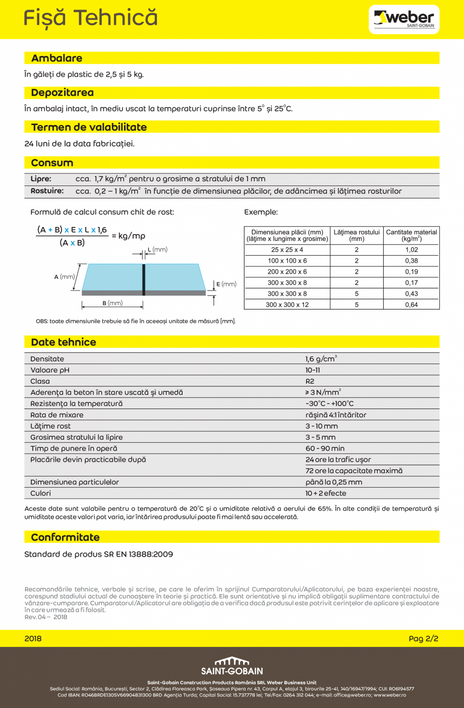 Pagina 2 - Chit epoxidic bicomponent pentru interior si exterior WEBER weberepox easy Fisa tehnica...