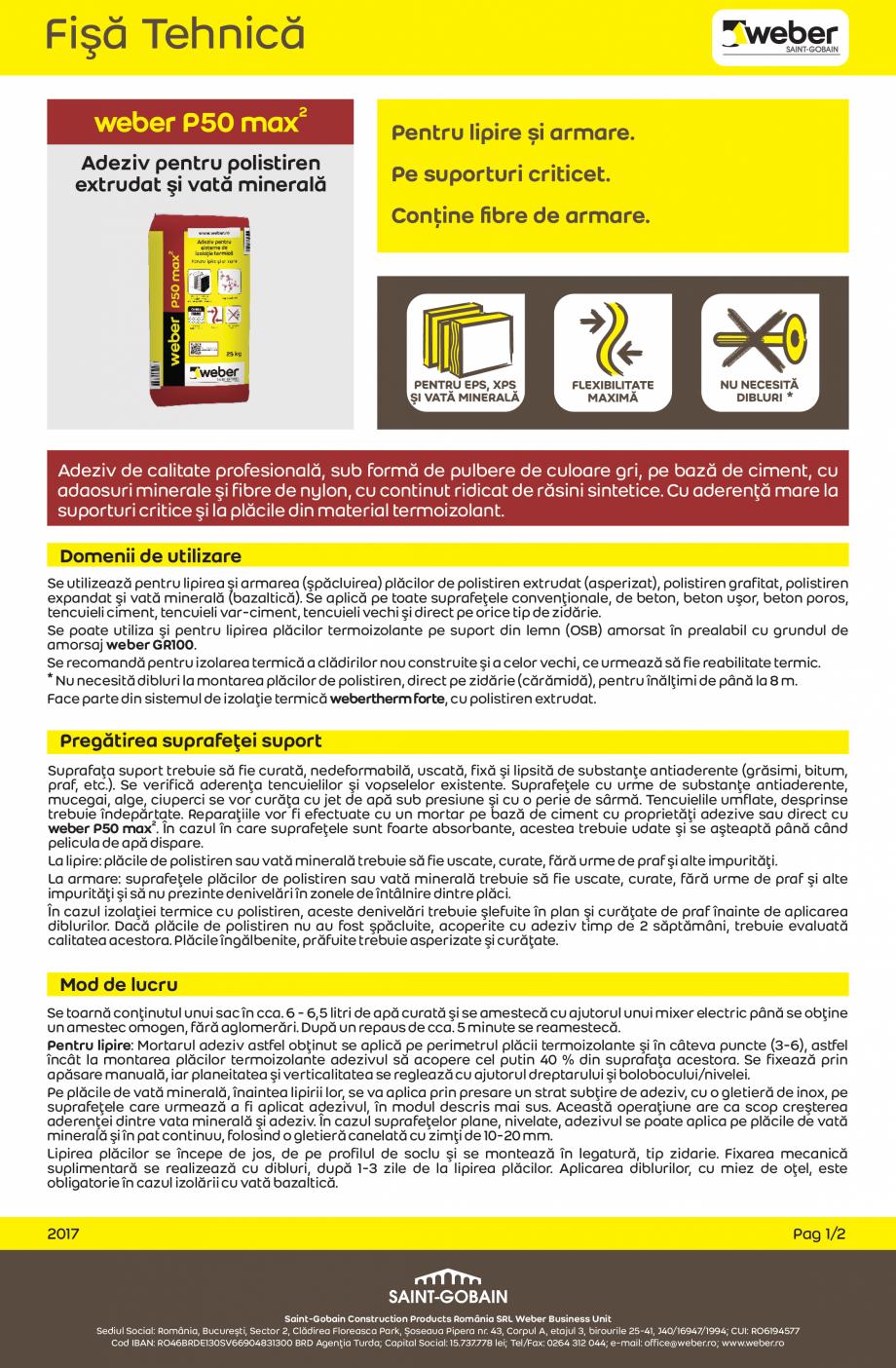 Pagina 1 - Adeziv flexibil pentru polistiren expandat si vata minerala WEBER weber P50 max2 Fisa...
