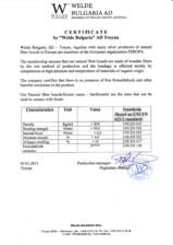 Certificat WELDE Bulgaria WELDE