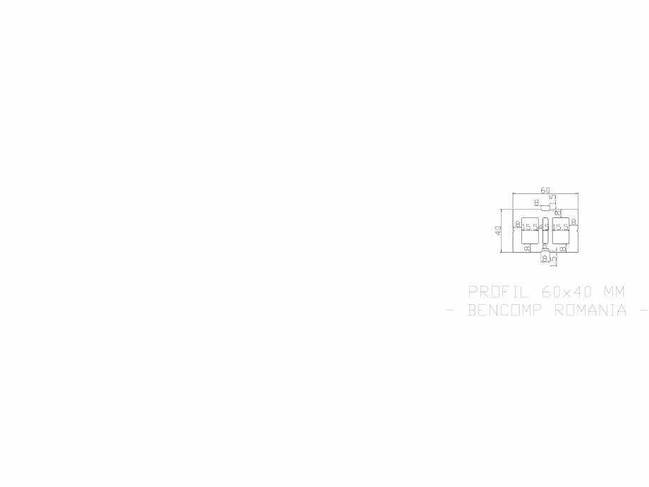 Pagina 1 - CAD-DWG Profil lemn compozit WPC 60x40 mm BENCOMP Detaliu de produs